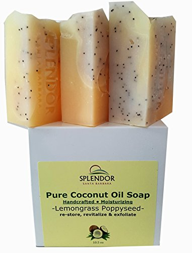 Lemongrass Poppy Seed Exfoliating (10.5 oz). Pure Coconut Oil Soap. Handmade, Vegan, Moisturizing, All Natural With Therapeutic Grade Essential Oil (Lux Naturals compare prices)