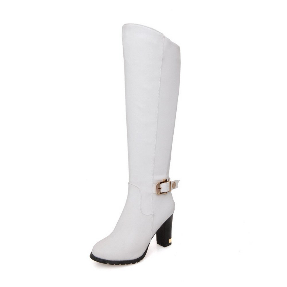 BeautyLover Women's Close Round Toe Solid Chunky Heels Nappa and PU Knee High Boots with Metal Buckles and Zippers,White,39