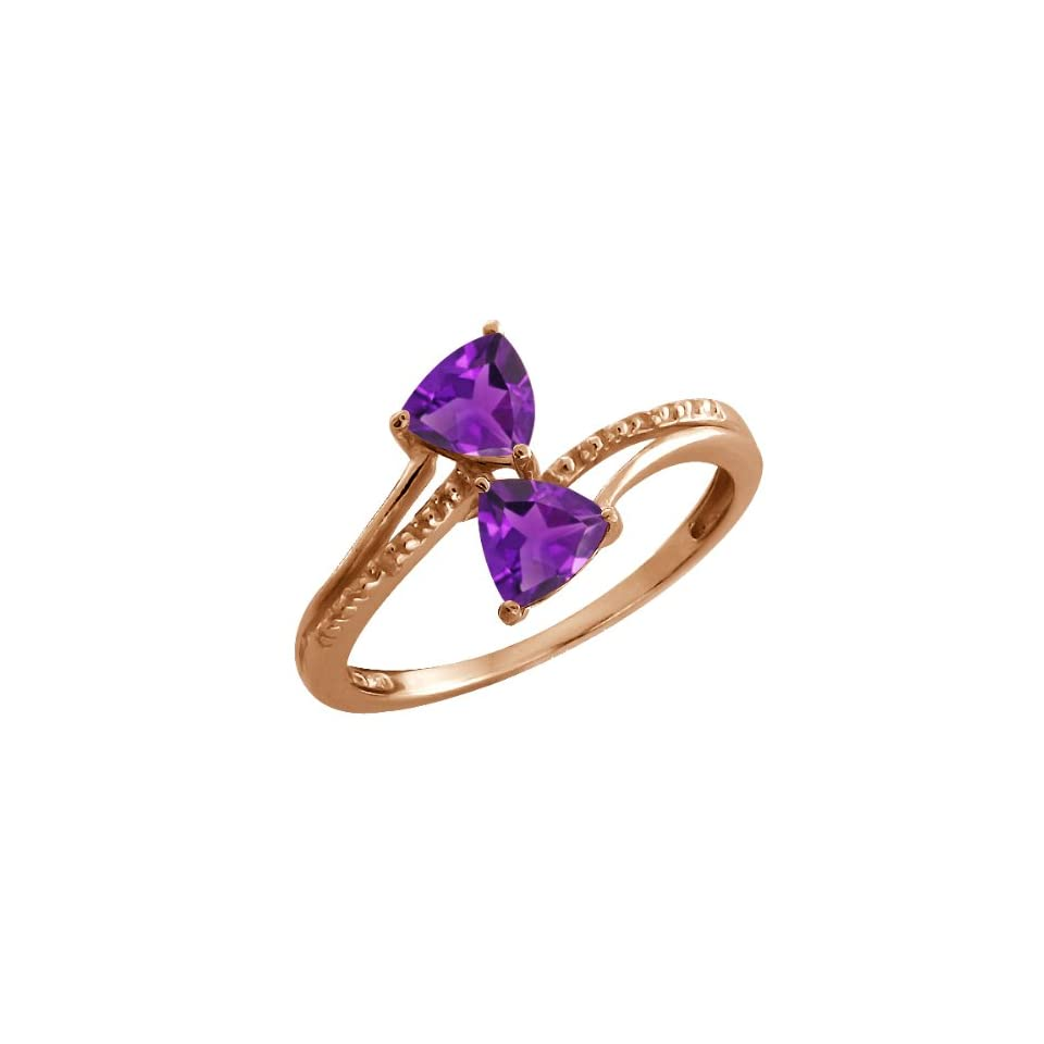 0.80 Ct Trillion Purple Amethyst Rose Gold Plated Sterling Silver Ring