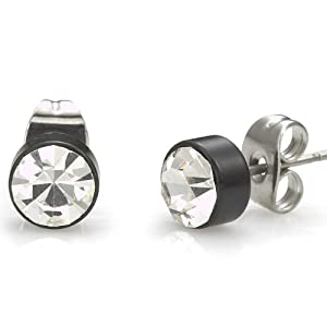 Mens Stud Earrings Stainless Steel Cz Cubic Zirconium (Black Silver) Jewelry