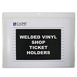 C-Line Vinyl Shop Ticket Holders, Both Sides Clear, Open Long Side, 12 x 9 Inches, 50 per Box (80129)