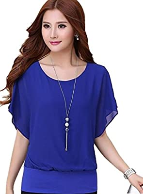 Syuer Women's Loose Casual Short Sleeve Chiffon Top T-shirt Blouse