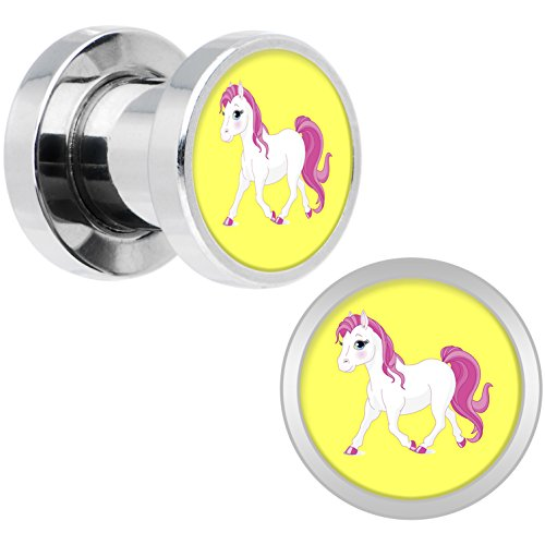 Body Candy Stainless Steel Blushing Pink White Pony Screw Fit Double Flare Plug Pair 2 Gauge (Pony Plug Adult compare prices)