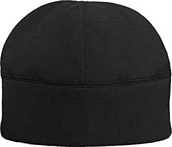 Solid Polar Fleece Winter Cold Weather Beanie Watch Cap Hat, Color Black