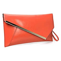 BMC Fashionably Chic Bright Orange Faux Leather Gold Metal Accent Envelope Style Statement Clutch