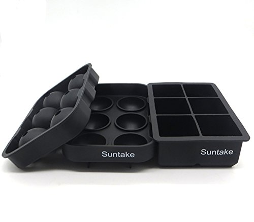 Silicone Sphere & Cube Combo Ice Tray, Ice Sphere Tray and Ice Cube tray by Suntake - 100% Premium Silicone & BPA free