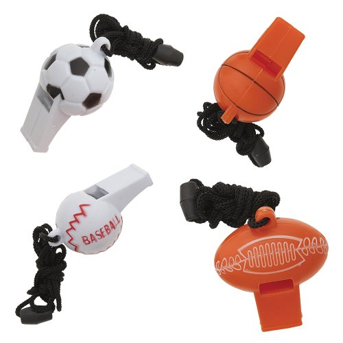 Sports Ball Whistle Party Favors, Assorted 4ct