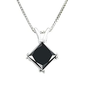 Vir Jewels 1.50 CT Princess Cut Black Diamond Pendant in Sterling Silver