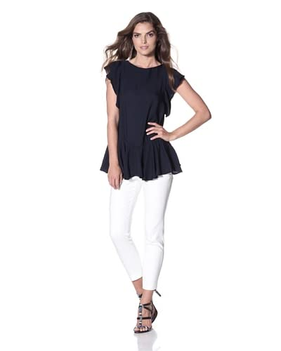 Cynthia Rowley Women's Double Georgette Solid Ruffle Top  - Navy