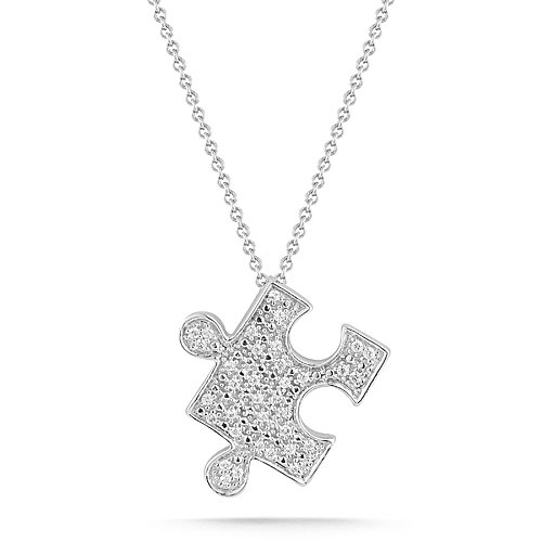 Sterling Silver with Diamond-Accent Puzzle Pendant Necklace (0.10 cttw, I-J Color, I2-I3 Clarity), 18