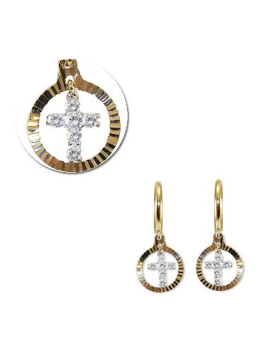 14k Yellow Gold, Dangling Religious Cross Earring with Brilliant Created Gems