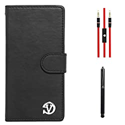 VanGoddy Premium Self Stand Mary Wallet Flip Book Cover Case for Sony Xperia Z3 (Black) + AUX Cable + Stylus