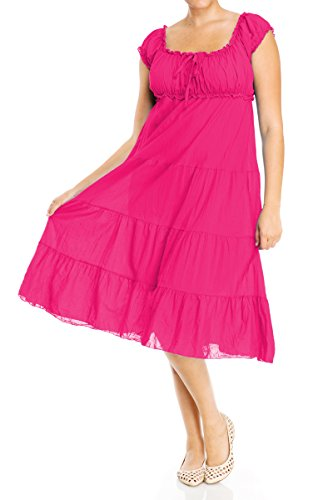 Evogues Plus Size Cotton Empire Waist Sundress Pink - 5X