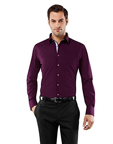 VB -  Camicia classiche  - Basic - Classico  - Maniche lunghe  - Uomo viola Medium