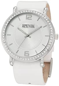 Kenneth Cole REACTION Women's RK6007 Analog Stones Bezel White Strap Watch Box Set
