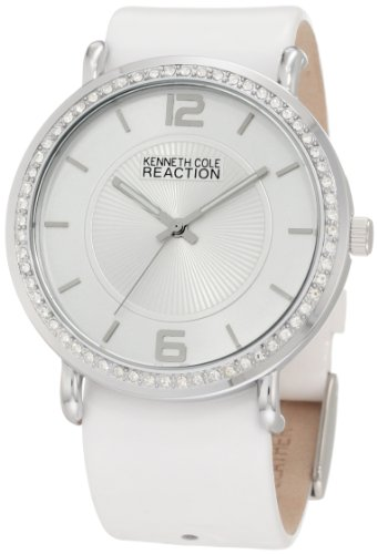 Womens Kenneth Cole Reaction Box Set White & Black Patent Leather Bands Crystal Bezel Large Watch RK6007