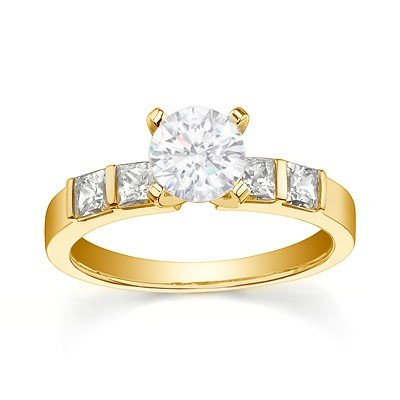 0.58 Carat Cheap Engagement Ring for Women with Round cut Diamond on 18K Yellow gold