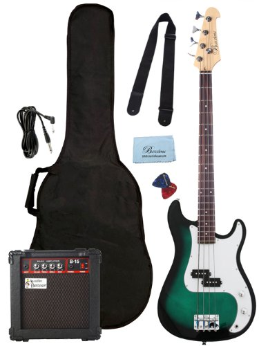 Barcelona Beginner Series Bass Guitar Bundle with 10-Watt Amp, Gig Bag, Instrument Cable, Strap, Strings, Picks, and Polishing Cloth – Transparent Green Burst