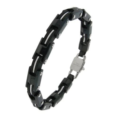 Stainless Steel Black Ionic Plating Link Bracelet, 8.25″