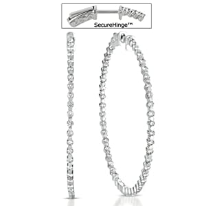 14k White Gold 2.34 Dwt Diamond 2 Securehinge Hoop Earrings - JewelryWeb