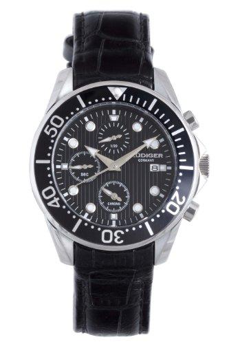 Rudiger Men's R2001-04-007L Chemnitz Black IP Rotating Bezel Black Dial Chronograph Watch