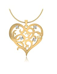 IskiUski Desirous 925 Sterling Silver 14kt Gold Plated Round Cubic Zirconia Heart Pendant For Women