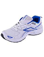 99 Moves Men's Faux Fancy Sports Shoes White And Blue Sports Shoes
