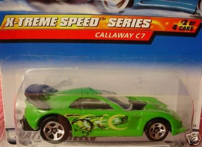 Mattel Hot Wheels 1999 1:64 Scale X-Treme Speed Series Green Callaway C7 Die Cast Car 2/4