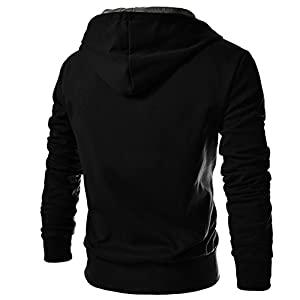TheLees 4BH Mens Casual Luxury Buckle Hoodie Slim Cotton Sweatshirts Small &Black
