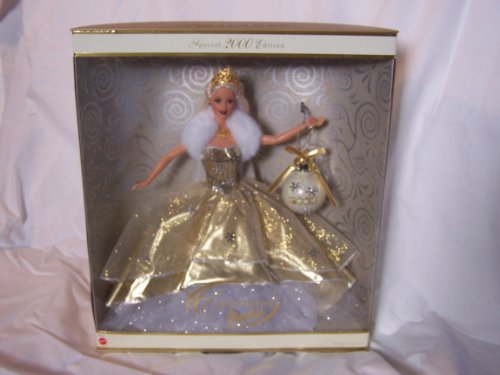 Mattel-Year-2000-Barbie-Holiday-Season-Series-12-Inch-Doll-Special-2000-Edition-CELEBRATION-BARBIE-with-GoldenIvory-Dress-Christmas-Ornament-Tiara-Necklace-Shoes-and-Doll-Stand-by-Mattel