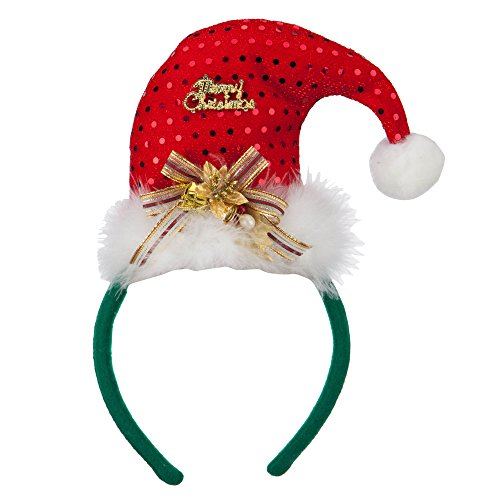 Merry Christmas Santa Hat Headband - Red Green