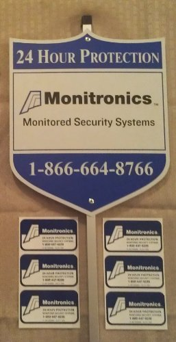 1 AUTHENTIC MONITRONlCS Security Yard Sign & 6 Security Decal Stickers For Windows & Doors