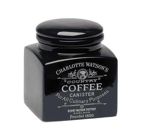 Charlotte Watson Square Small Coffee Canister - Black
