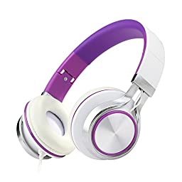 ECOOPRO Over Ear Stereo Headphones for MP3 MP4 PC Tablets Mobiles- Adjustable, Lightweight & Portable Purple