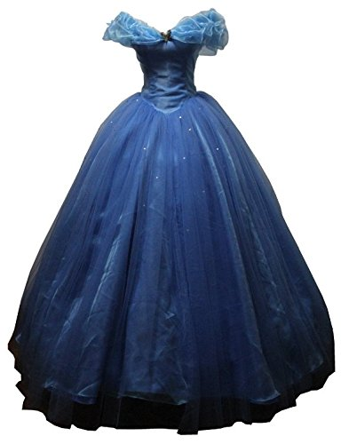 Blue Women's Cinderella Cosplay Dress Halloween Party Costumes Custom Made Adult