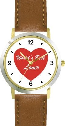 Red Heart - World's Best Lover - Love & Friendship Theme - WATCHBUDDY® DELUXE TWO-TONE THEME WATCH - Arabic Numbers - Brown Leather Strap-Women's Size-Small