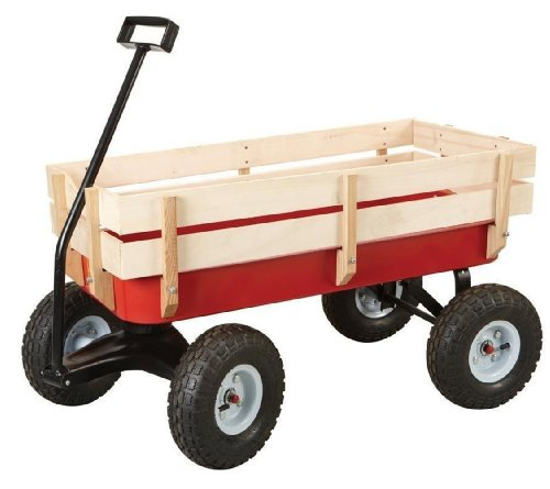 All-Terrain-Steel-and-Wood-Pull-Cart-Wagon-For-Kids-w-Extra-Large-10-Air-Tires-For-Hauling-Heavy-Duty-Country-Model-300lb-Load-Capacity