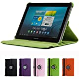 """GMYLE(R) Green 360 Degree Rotating PU leather Folio Stand Case Cover for tablet Galaxy Tab 1 2 10.1"""" P7510 P5100 With Vertical and Horizontal Multi Angle Stand"""