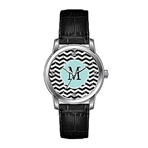 AMS Christmas Gift Watch Women's Vintage Design Leather Black Band Wrist Watch Black White Chevron Pattern Wristwatches