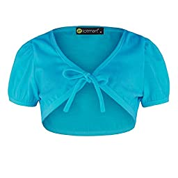 Girls Tie Front Bolero in Turquoise 9/10 Years