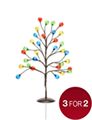 2ft Multicoloured Light-Up Bauble Tree