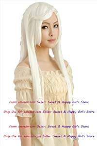 NEW Fashion HOT sexy supper Long White Straight Anime cosplay wigs party Masquerade girls 80cm