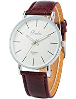 Dalas Montre Quartz Classique Bracelet Cuir PU Design Simple Unisexe Marron Couples WAA188
