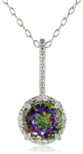 """Sterling Silver Diamond and Green Mystic Topaz Pendant Necklace, (0.03 Cttw, G-H Color, I3 Clarity), 18"""""""