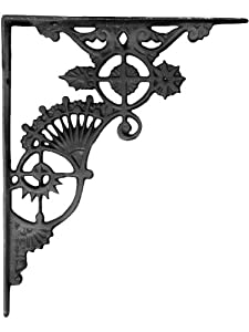 "Ornate Cast Iron Shelf Bracket - 11"" X 9"". Victorian Hardware."