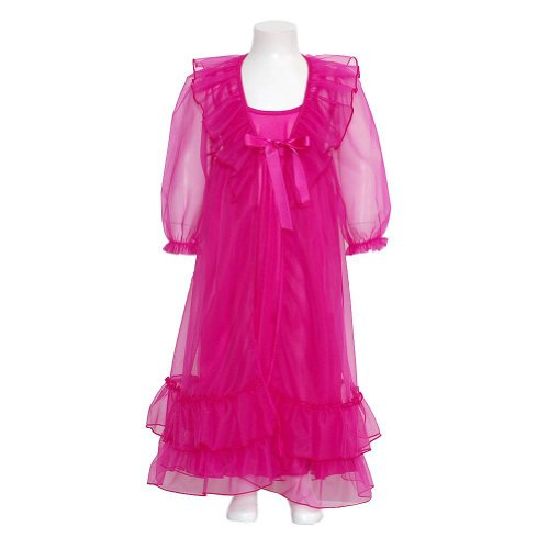 Laura Dare Girls 10 Fuchsia Frilly Peignoir 2Pc Robe Nightgown Set front-1021378