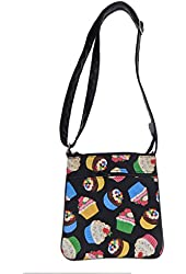 """US HANDMADE FASHION CROSS OVER BODY BAG WITH """"CUPCAKES"""" PATTERN SHOULDER BAG WITH ADJUSTABLE HANDLE, Cotton Fabric, NEW, CSOP 4014"""