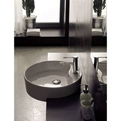Scarabeo Scarabeo 8029/D-One Hole-637509854911 Round Semi-Recessed Ceramic Sink, White