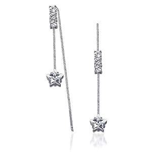 Heavenly Beauty: Sterling Silver Rhodium Nickel Finish and Cubic Zirconia Threader Style Drop Earrings