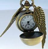 アンティーク風 かっこいい翼が付いた ブロンズカラーの 懐中時計【専用ボックス付き】